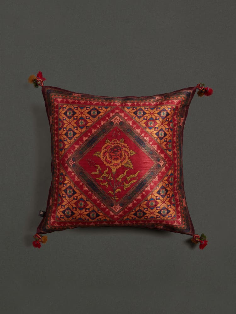 Red Kutch Print Square Cushion with Filler