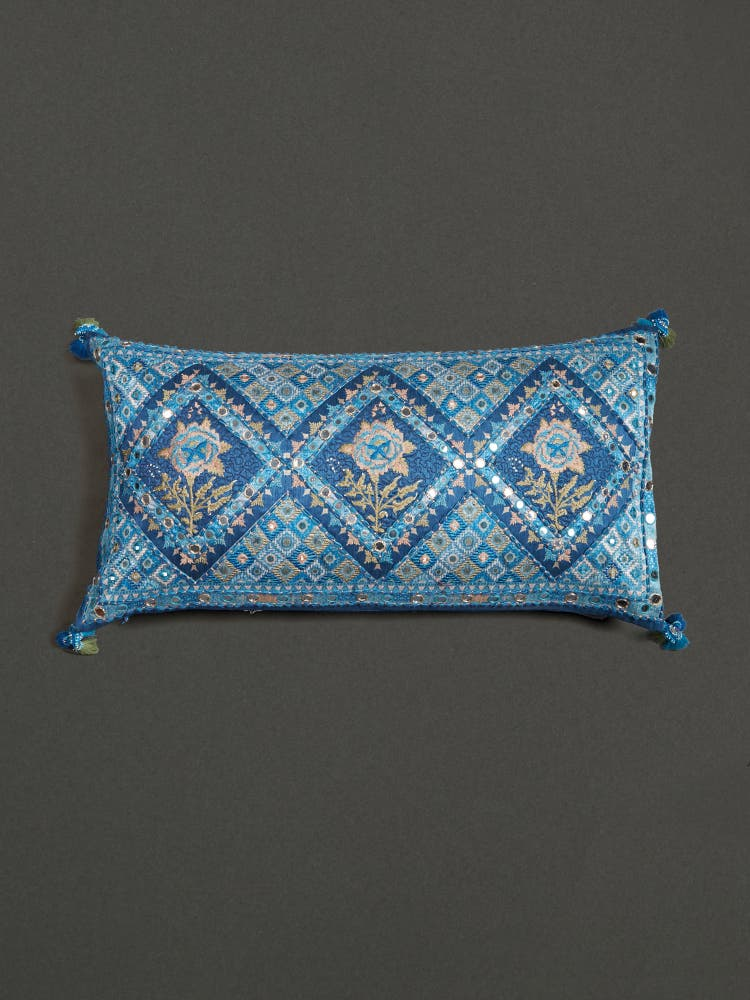 Blue Kutch Print Rectangle Cushion with Filler