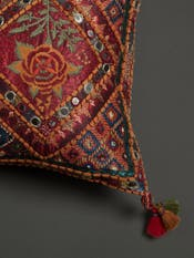 Red Kutch Print Rectangle Cushion with Filler