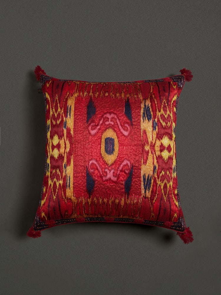 Red Ikkat Square Cushion with Filler