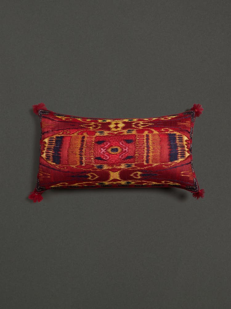 Red Ikkat Print Rectangle Cushion with Filler