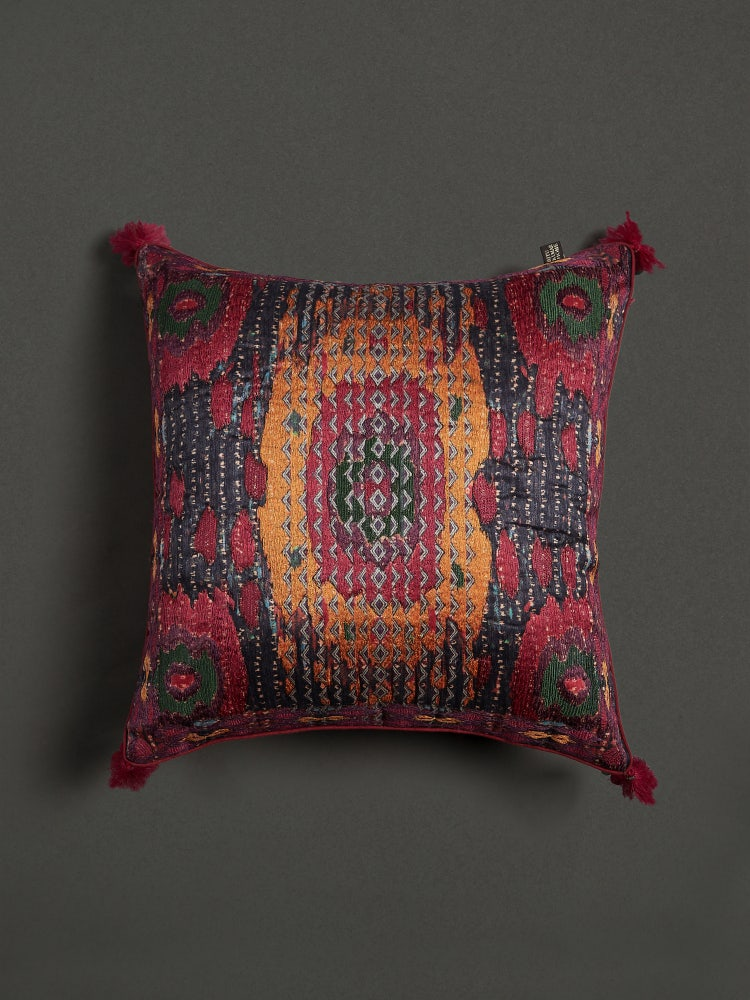Pink Ikkat Print Cushion with Filler