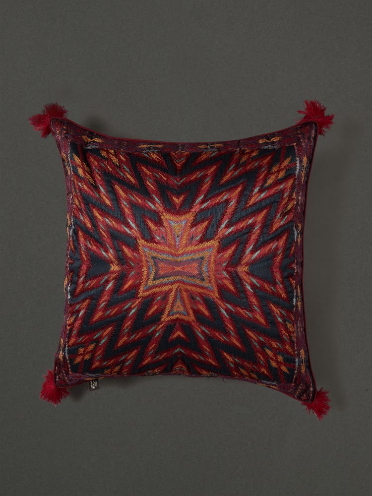 Orange Ikkat Print Cushion with Filler