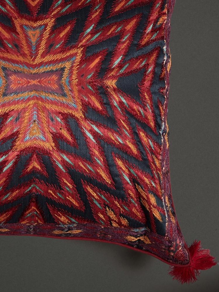 Orange Ikkat Print Cushion with Filler