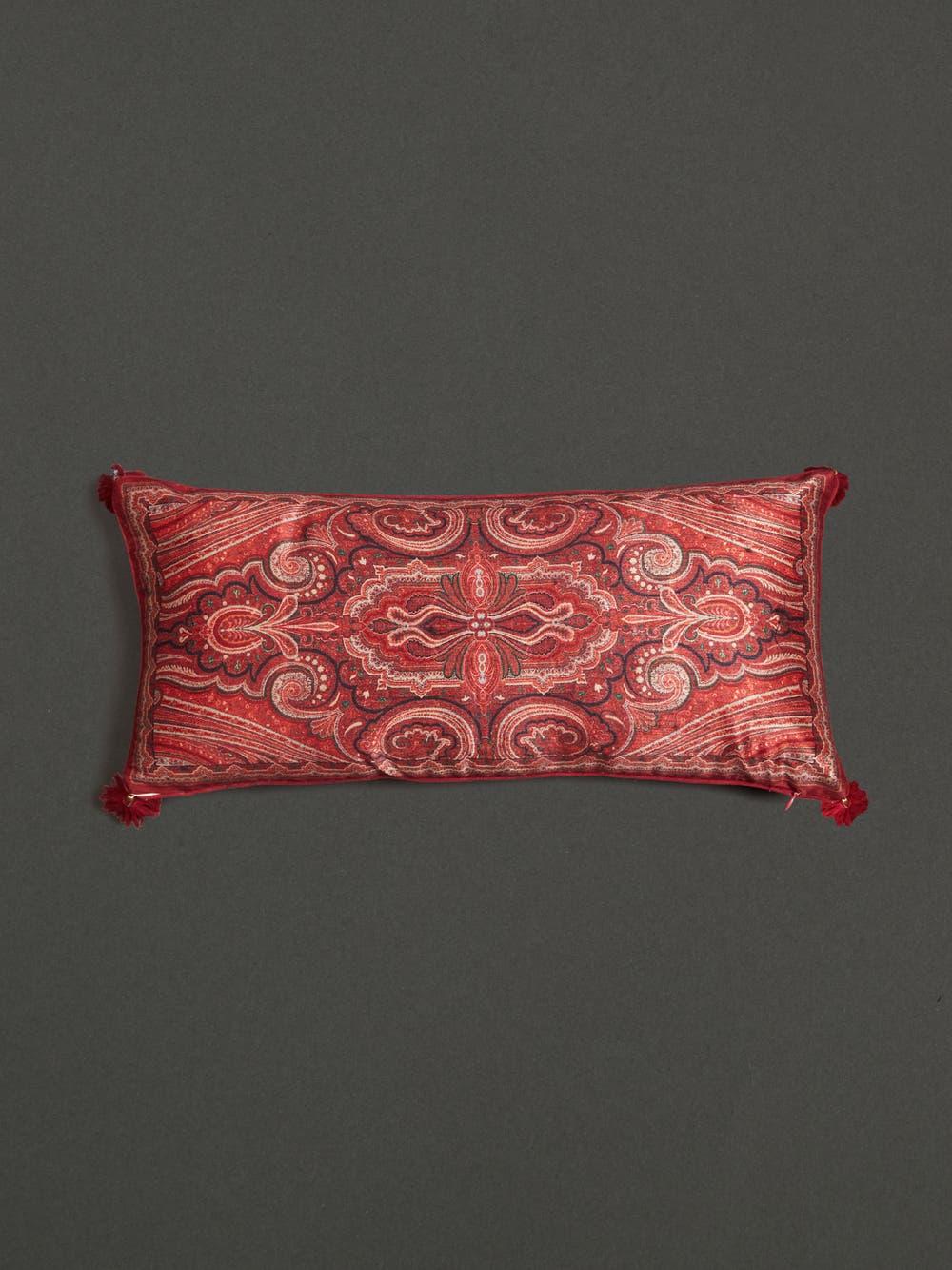 Maroon Jamavar Print Rectangle Cushion with Filler