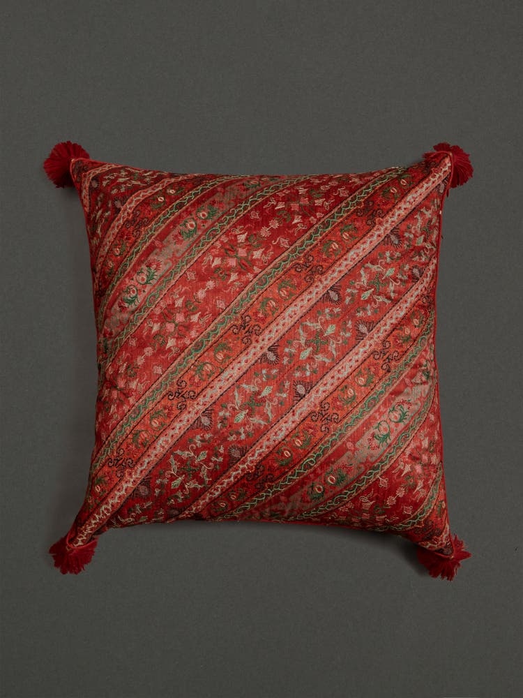 Multi Jamavar Print Square Cushion with Filler