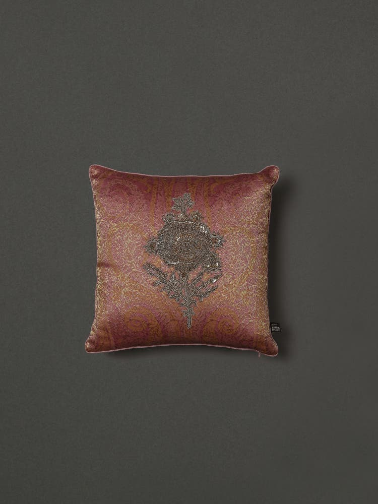Pink Embroidered Cushion with Filler