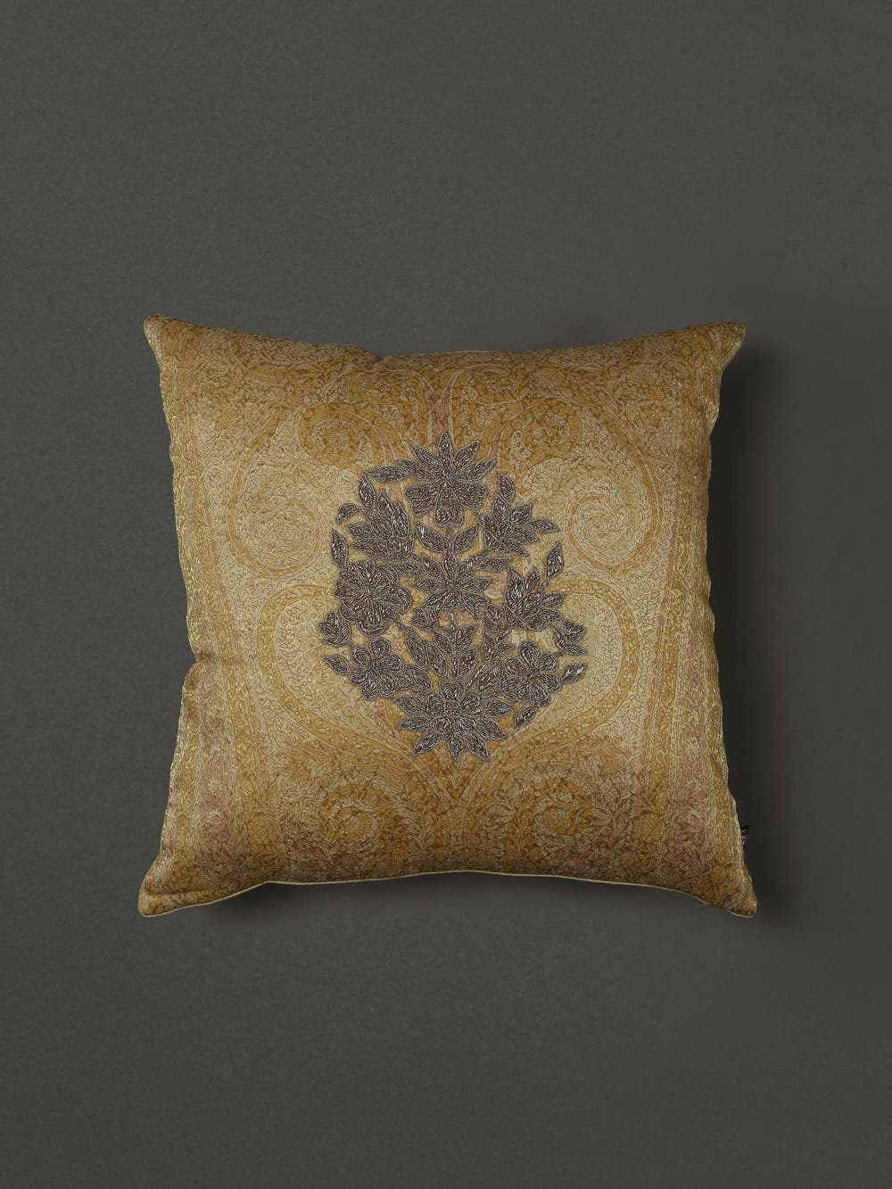 Gold Embroidered Cushion with Filler