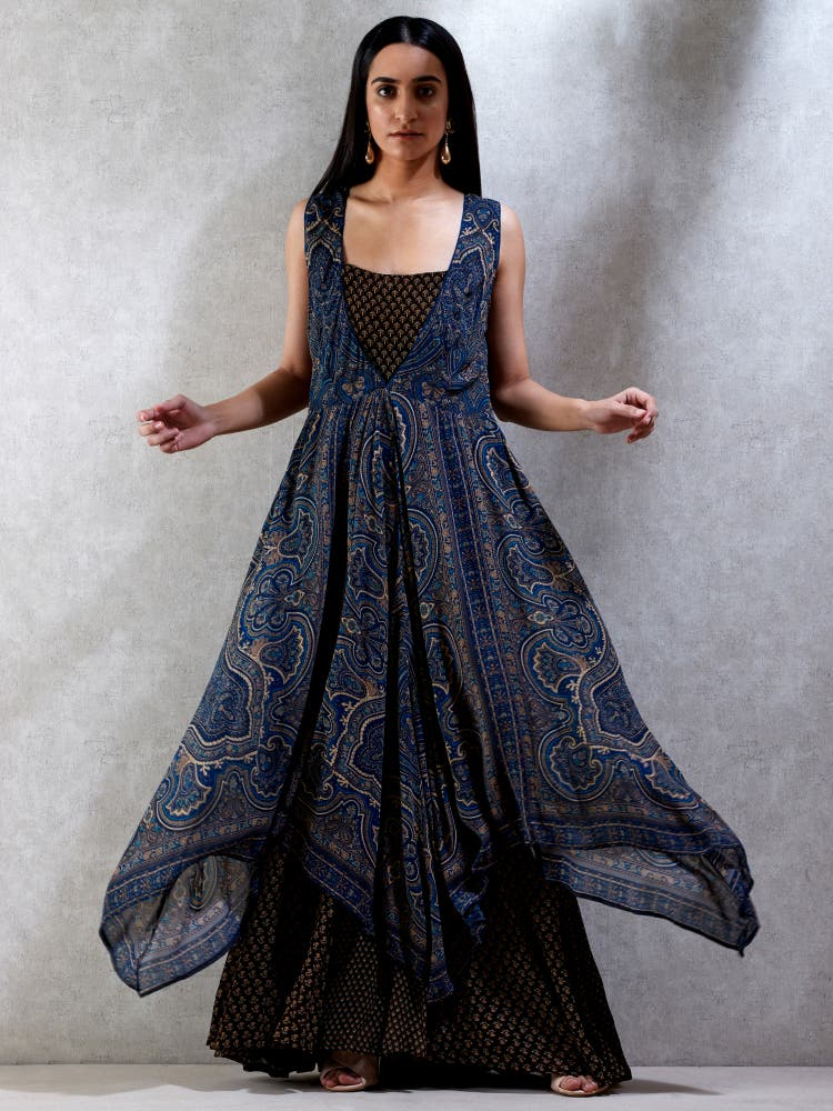 Indigo & Brown Printed Kurta Dress