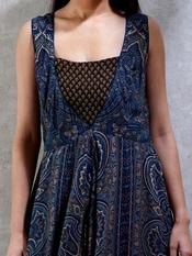 Indigo & Brown Printed Kurta Dress