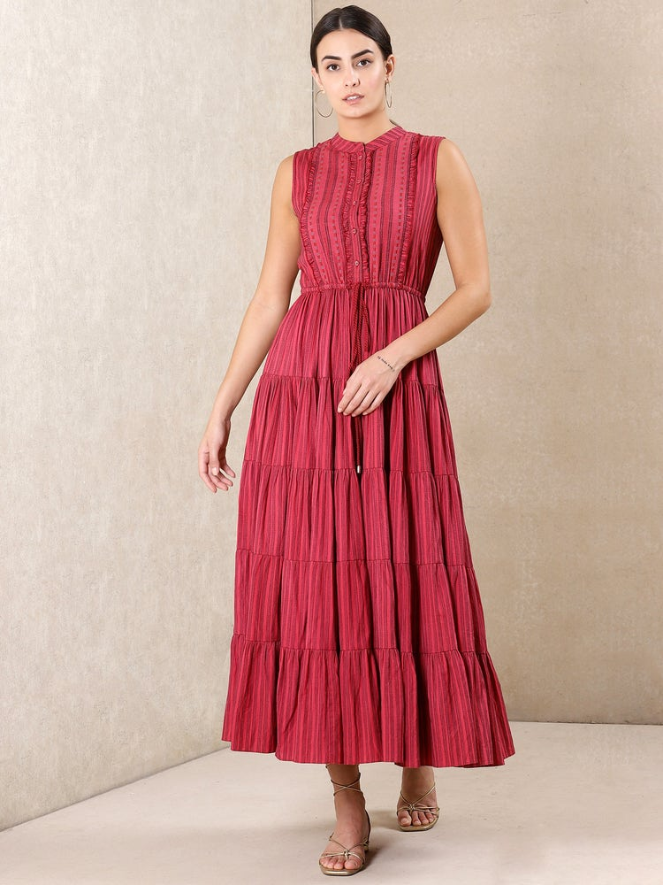 Red Striped Cotton Dress