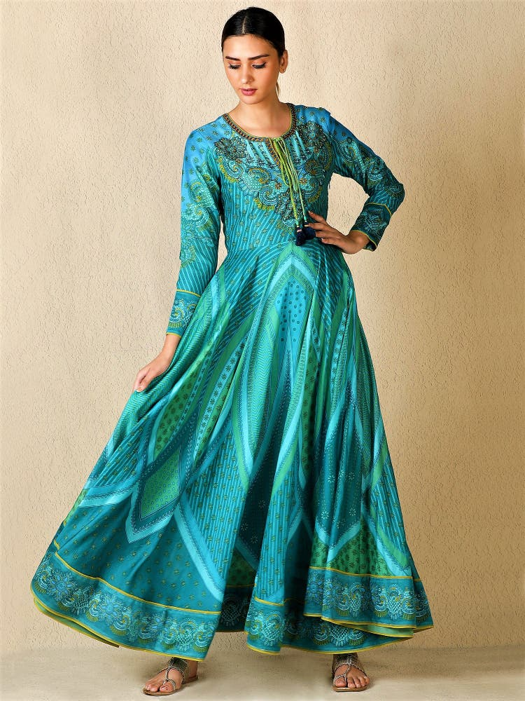 Aquamarine Embroidered Anarkali Kurta