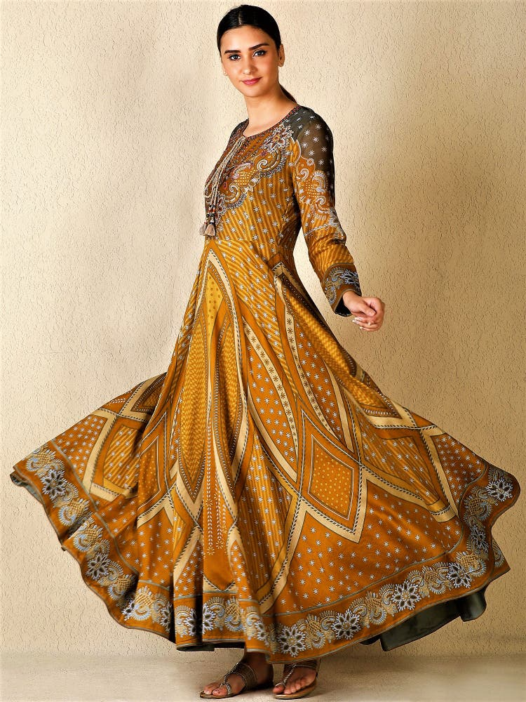 Mustard Embroidered Anarkali Kurta