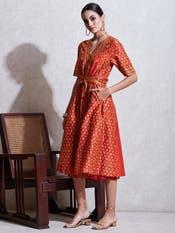 Rust & Beige Printed Tie-up Dress
