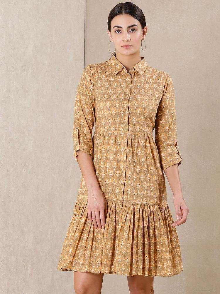 Beige Printed Short Dress