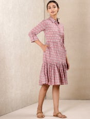 Pink Printed Short Dress