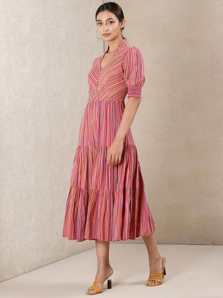 Pink Striped Cotton Dress