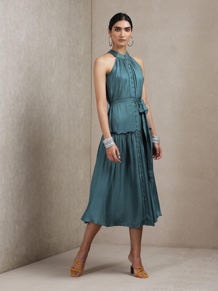 Teal Green Halter Dress