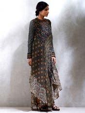 Aditi Rao Hydari in a Black & Brown Printed Asymmetrical Dress
