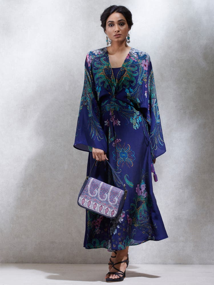 Peacock Blue Floral Knot Dress