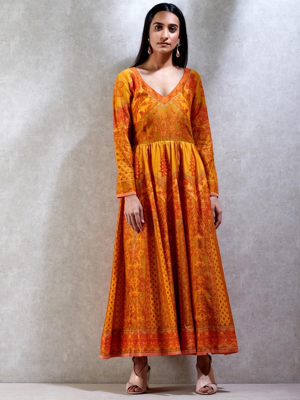 Mustard & Beige Printed Chanderi Kurta Dress