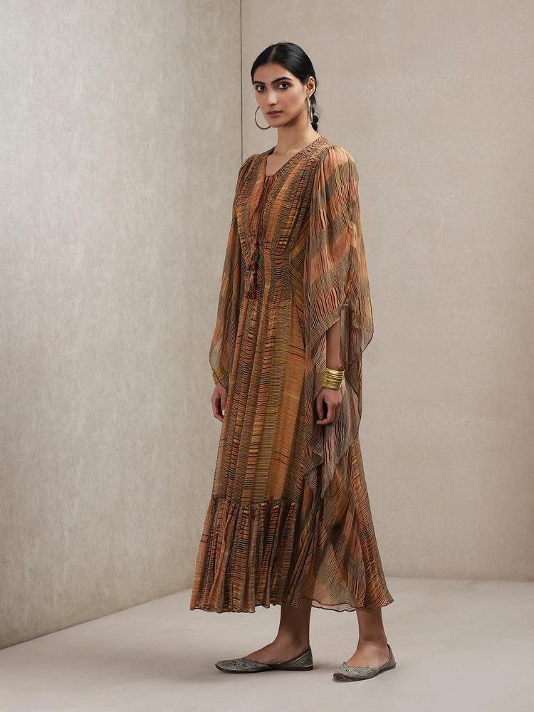 Rust Geometric Print Dress