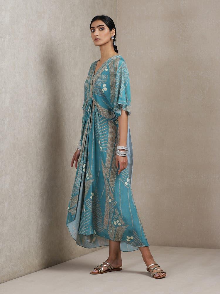 Blue Geometric Print Cowl Dress