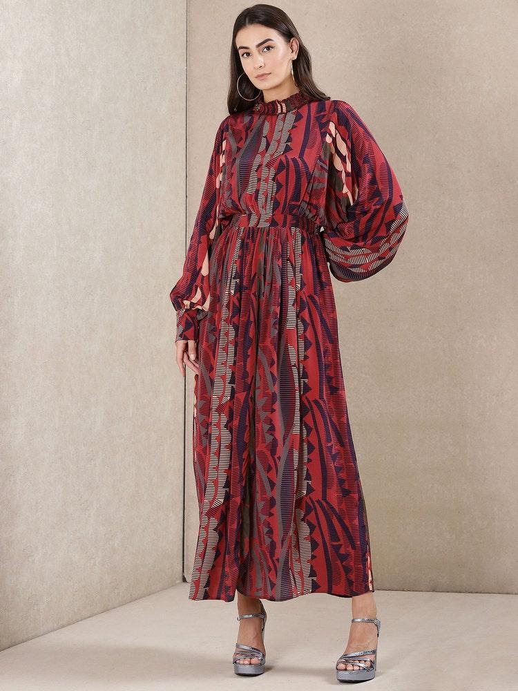 Plum Printed Dress