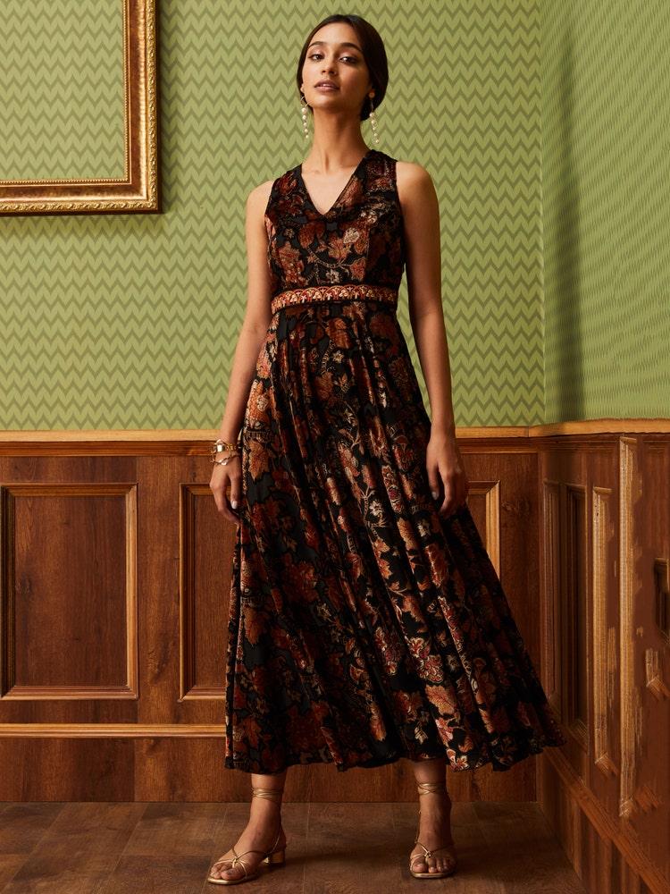 Black Floral Print Velvet Dress