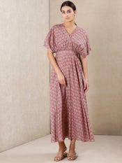 Pink Printed Kaftan Dress