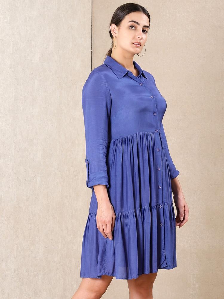 Blue Tiered Short Dress