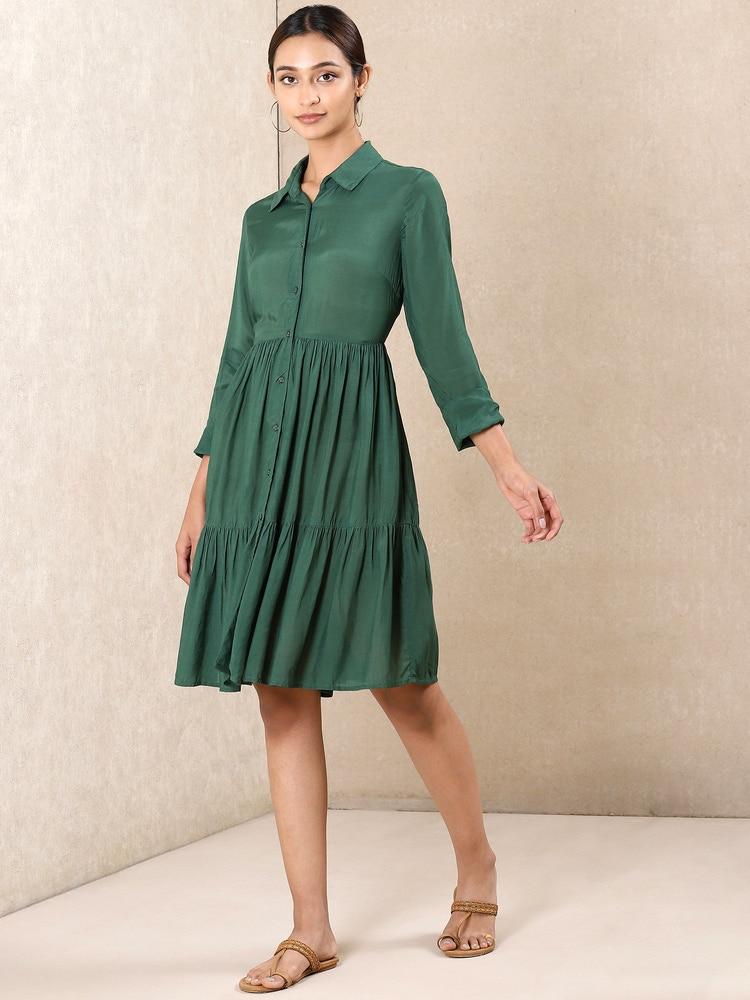 Green Tiered Short Dress