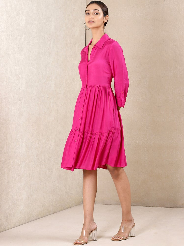 Pink Tiered Short Dress