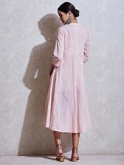 Pink Self-Work Kurta