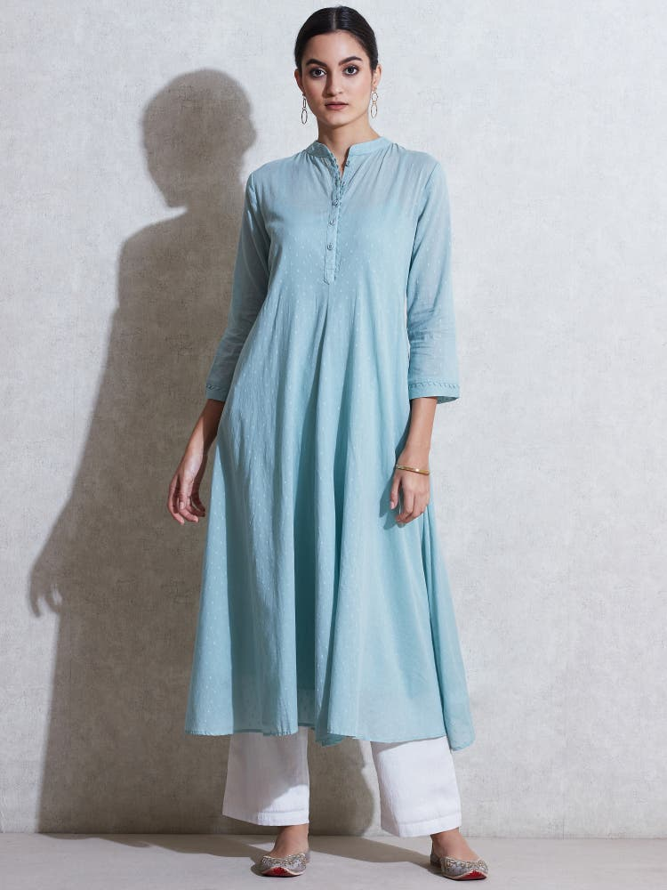 Sea Green Self-Work Kurta