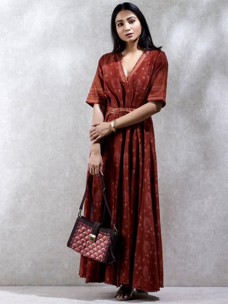 Rust Printed Aine Chanderi Kurta Dress