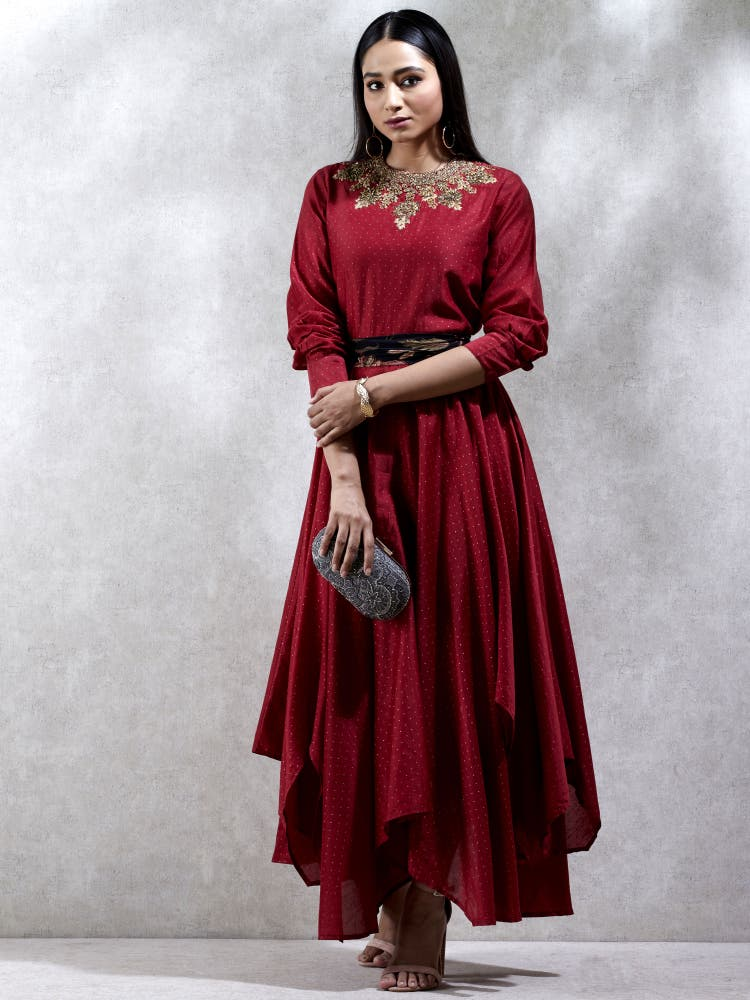 Red Embroidered Asymmetric Kurta Dress