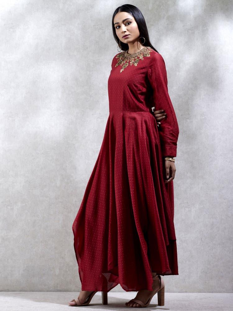 Red Embroidered Asymmetric Chanderi Kurta Dress