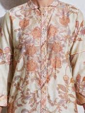Ecru Floral Print Shirt Kurti