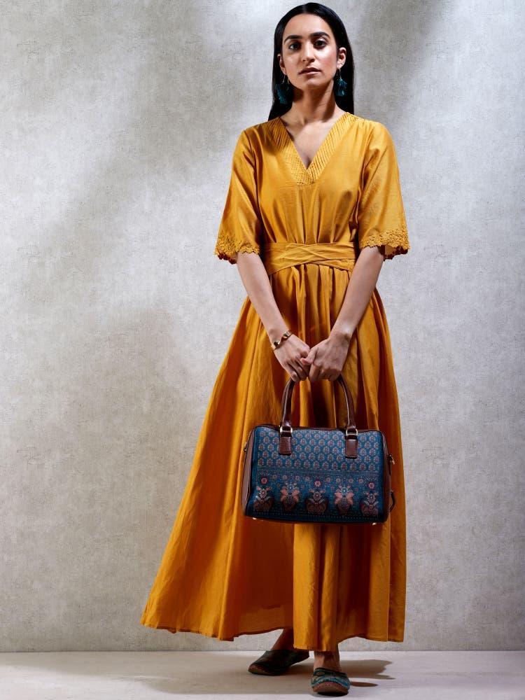 Gold Chanderi Kurta Dress