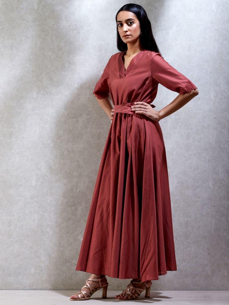 Rust Chanderi Kurta Dress
