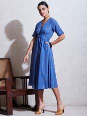 Blue Cotton Kurta Dress with Floral Motif