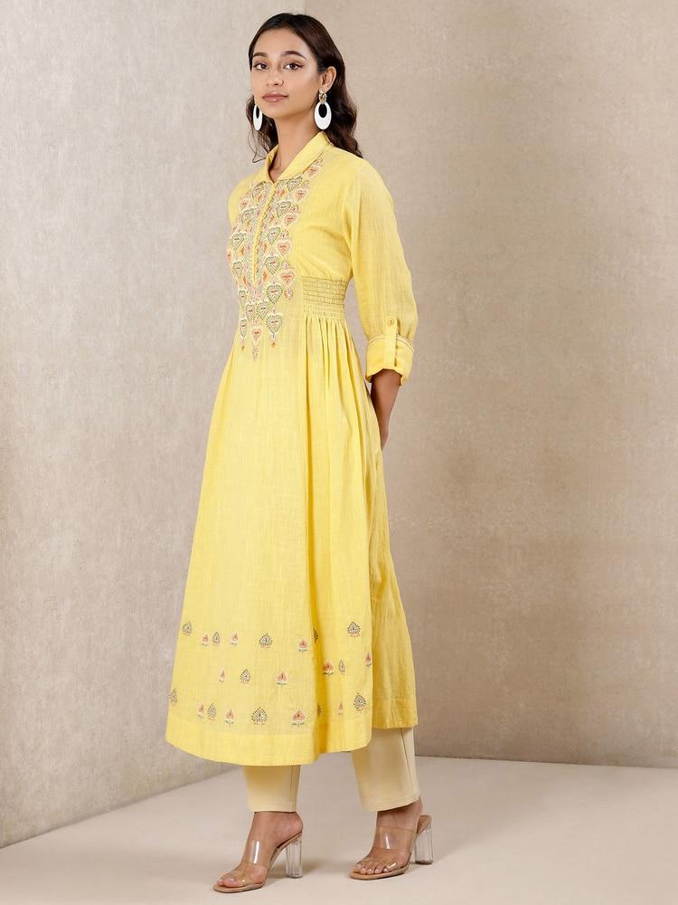 Yellow Embroidered Cotton Kurta