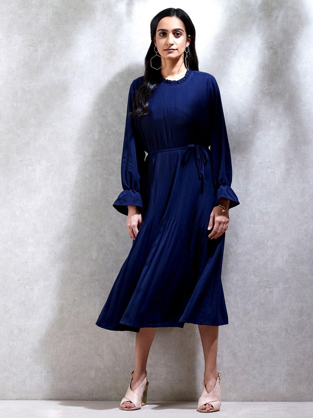 Navy Blue Pleated Kurta Dress