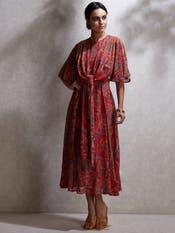 Red Geometric Print Kurta Dress