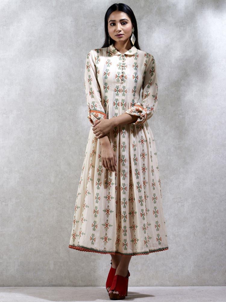 Ecru Floral Printed Kurta Dress