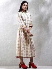 Ecru Floral Printed Kurta Dress