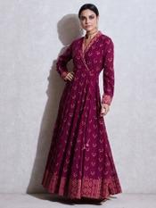 Magenta Printed Kurta Dress