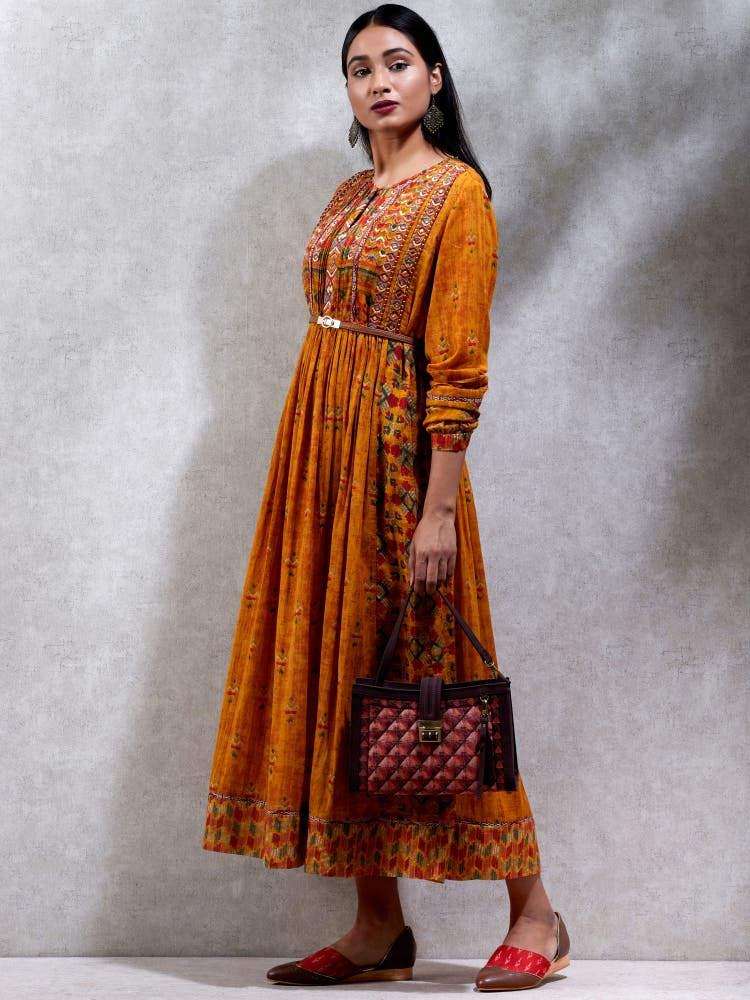Mustard Yellow Flared Kurta