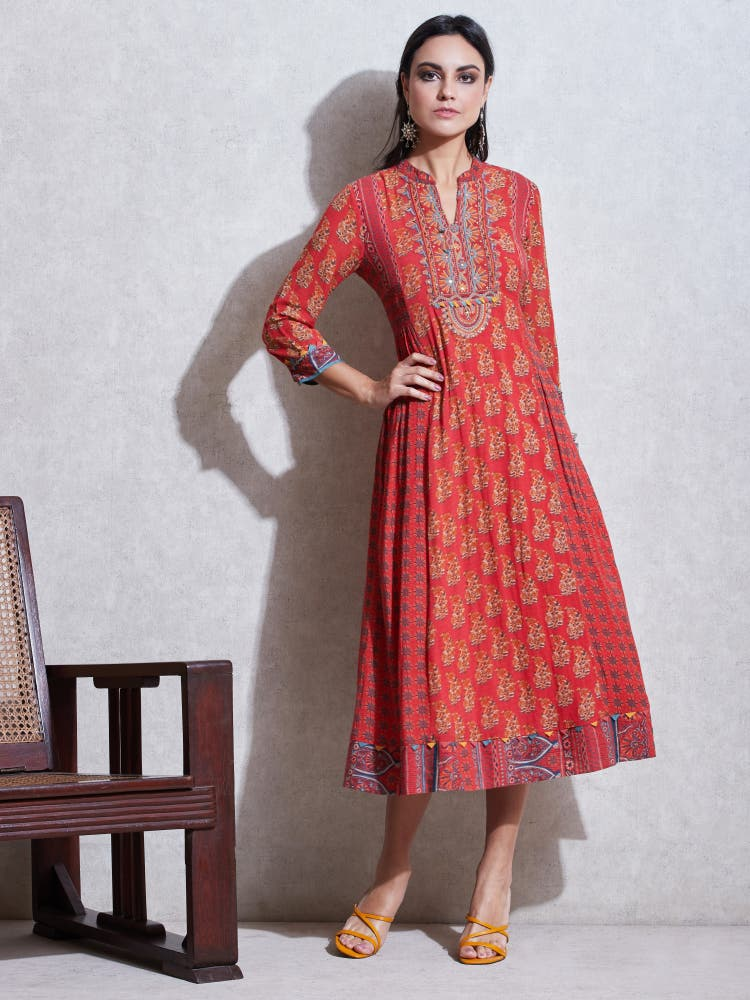 Red Printed Anarkali Kurta